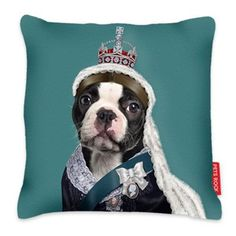 Queen Vic - Pets Rock Cushion for Sale at Bouf Dog Cushions, Printed Cushions, Dog Pillows, I Love Dogs, Cute Dogs, Boston Terrier Love, Boston Terriers, Rock Queen, Pet Rocks