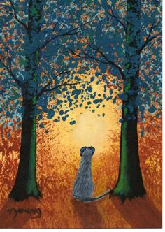 Scottish Deerhound Irish Wolfhound FOREST LIGHT limited edition reproduction art print of Todd Young painting. $13.50, via Etsy.