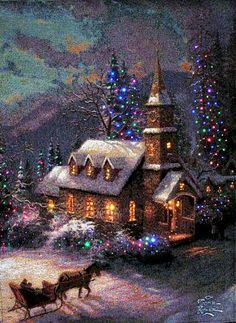 Ideas painting christmas scenes thomas kinkade for 2019 Christmas Past, Christmas Pictures, Winter Christmas, Christmas Lights, Winter Snow, Thomas Kinkade Art, Thomas Kinkade Christmas, Illustration Noel, Christmas Illustration