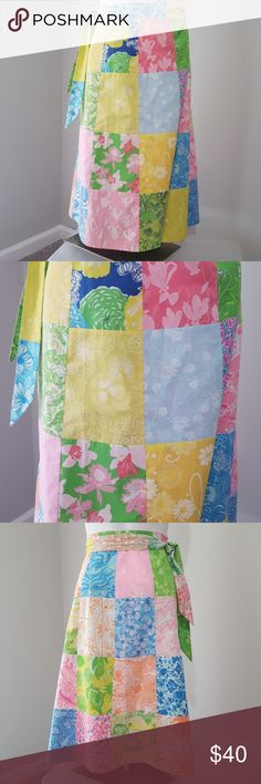 Women's Lilly Pulitzer reversible wrap skirt Gorgeous reversible wrap  skirt from Lilly Pulitzer.  One side patchwork prints all full of color. Other side pink and green prints. Being a wrap it is very flexible in size.I think it may be vintage .Excellent condition with no fading. Lilly Pulitzer Skirts