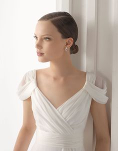 Love the draped shoulders on this Rosa Clara gown