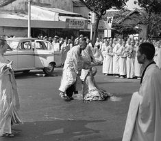Thích Quảng Đức a Buddhist Monk who self-immolated in protest of the South Vietnam government's persecution of Buddhists. Moments before his act of protest. June 11, 1963 via reddit