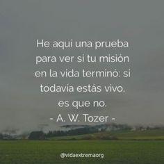 Frase de A. W. Tozer sobre la misión #FrasesCristianas #DiosTeBendiga #PensamientosCristianos