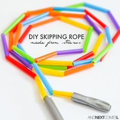 How to make an easy DIY skipping rope for kids using dollar store straws. A perfect fine motor craft for toddlers, preschoolers, or kids of any age from And Next Comes L