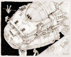 Ron Cobb – Eavesdropping with Johnny Spaceship Art, Spaceship Design, 70s Sci Fi Art, Fritz Lang, Science Fiction Art, Movie Props, Cool Sketches, Retro Futurism, Drawing S