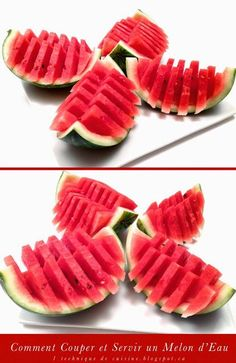 Comment Couper et Servir un Melon d'Eau (Pastèque) / How to Quickly Cut and Serve a Watermelon Easy to grab Fruit Presentation, Kreative Snacks, Fruit Buffet, Fruit And Vegetable Carving, Watermelon Carving, Cut Watermelon, Food Garnishes, Garnishing, Food Carving
