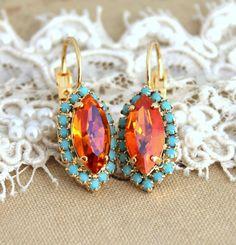 Boucles d'oreilles orange Turquoise boucles d'oreilles par iloniti