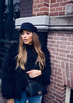 Kenza Zouiten - Faux Fur Coat + Chanel Boy Bag