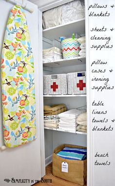 Organized closet...metal dividers to separate items, and love the basket with beach towels. Use a big canvas bag like this so it is grab and go.
