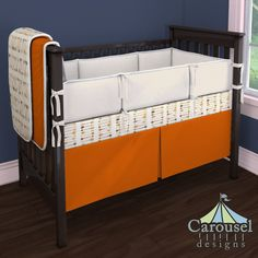 Crib bedding in Solid Orange, Tribal Arrow, Cream Matelesse. Created using the Nursery Designer® by Carousel Designs where you mix and match from hundreds of fabrics to create your own unique baby bedding. #carouseldesigns
