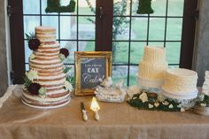 Five tier naked cake and two ruffles cakes by Dolce Designs in Houston. Photo by Christina Carrol Photography