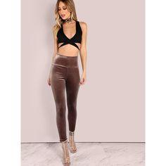 Velvet Leggings MOCHA ($13) ❤ liked on Polyvore featuring pants, leggings, brown, pink pants, high waisted velvet leggings, high-waisted leggings, high waisted pants and brown leggings