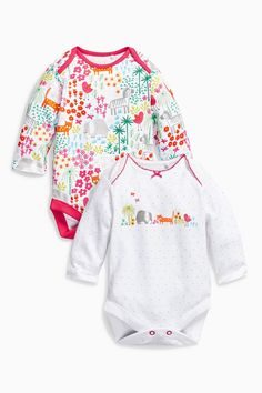 Buy Multi Bright Animals Long Sleeve Bodysuits Two Pack (0mths-2yrs) from the Next UK online shop