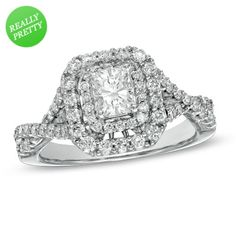 I've tagged a product on Zales: 1-1/4 CT. T.W. Certified Radiant-Cut Diamond Double Frame Engagement Ring in 14K White Gold (H-I/I1)