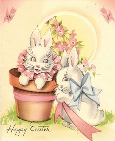 Vintage Easter Card + Bunnies + Easter and Spring Easter Art, Hoppy Easter, Easter Crafts, Easter Bunny, Easter Greeting Cards, Vintage Greeting Cards, Fete Pascal, Diy Ostern, Easter Parade