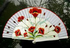 Red Poppies Motiff fan Antique Fans, Vintage Fans, Cool Umbrellas, Fancy Hands, Fan Decoration, Modern Fan, Electric Daisy, Flower Aesthetic, Vintage Vanity