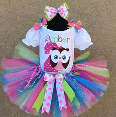 d77303e03 3 Pc Owl Pink, Blue and Lime Tutu Set and Bow Headband Ages 1-6,Toddler,  Big Girl Sizes 6m-6yr - Look Whoos Two