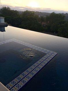 Spa below water surface mid pool