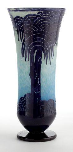 A Schneider Glass Palmiers Vase Charles Schneid Harlem Renaissance, Pottery Painting, Pottery Art, Bauhaus, Art Nouveau, Art Deco Movement, Glass Ceramic, Schneider, Objet D'art