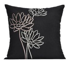 Black & White Decorative Pillow Cover,18x18 Throw Pillow Cover, Blue  Black Linen Off White Water Lily, Embroidered Pillow, Accent Pillow. $23.00, via Etsy.