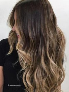 Long Wavy Hairstyles Women's High Density Synthetic Hair Lace Front Cap Wigs – Frauen Haare Brown Ombre Hair, Brown Hair Balayage, Brown Hair With Highlights, Ombre Hair Color, Hair Color Balayage, Light Brown Hair, Blonde Highlights, Dark Hair, Blonde Balayage