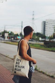 Kevin Elezaj - Worst Behavior Jute Bag, H&M Tank Top, H&M Jacket, Zara Jeans - TB Summer