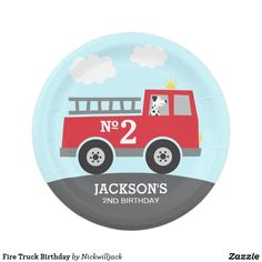 Shop Fire Truck Birthday Paper Plate created by Nickwilljack. Personalize it with photos & text or purchase as is! Birthday Plate, Boy Birthday, Birthday Gifts, Paper Plate Design, Birthday Supplies, Custom Plates, Gifts For Boys, Boy Gifts, Paper Plates