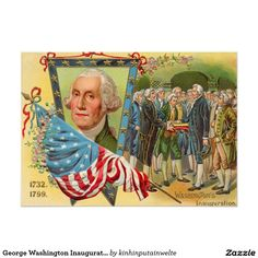 George Washington Inauguration American Flag 5x7 Paper Invitation Card