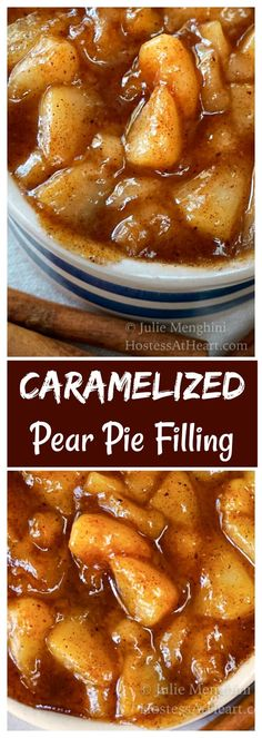 Caramelized Pear Pie Filling is so much more than something you d find in a pie It s so good in so many things especially your spoon pearfilling pearpie via HostessAtHeart Pear Recipes Easy, Pear Dessert Recipes, Köstliche Desserts, Tart Recipes, Fruit Recipes, Sweet Recipes, Delicious Desserts, Desserts With Pears, Plated Desserts