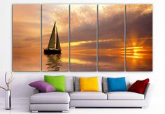 "XLARGE 30""x 70"" 5 Panels Art Canvas Print beautiful sailboat Aurora boat Beach ocean sunset Wall Home Decor (Included framed 1.5"" depth) on Etsy, $156.39 CAD"