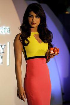 Bollywood actress Priyanka Chopra in yellow and pink dress