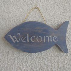 Plaque de porte forme poisson en bois