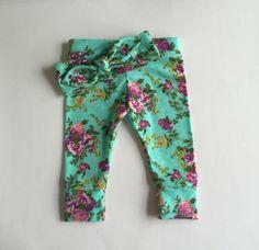 Baby Girl Leggings and Knot Headband set, baby girl clothes, leggings, headband, knotted headband, gift set, Mint Floral by KristelSummerDesigns on Etsy https://www.etsy.com/listing/256378519/baby-girl-leggings-and-knot-headband-set