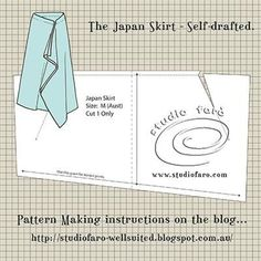Pattern Puzzle - The Japan Skirt - no block required! Self-draft pattern making instrucitons to make this drape skirt pattern. Drape Skirt Pattern, Skirt Patterns Sewing, Clothing Patterns, Bodice Pattern, Skirt Sewing, Sleeve Pattern, Collar Pattern, Pants Pattern, No Sew Skirt