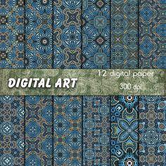 Digital paper package blue arabic patterns