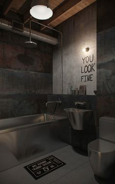 A Look At 15 Chic Industrial Style Bathroom Designs : EyeCatching Industrial Style Bathroom Design Inspiration with Fancy Stainless Steel Bathtub and Sink also Wooden Ceiling