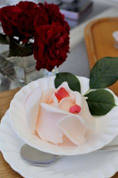 rose ice cream presented as rose blossom, from japan