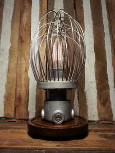 upcycled vintage whisk edison lamp. steampunk style.