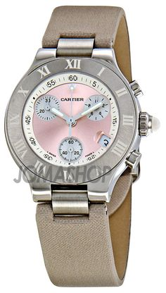 Cartier Chronoscaph Silvered Pink Sunburst Dial Chronograph Ladies Watch W1020012