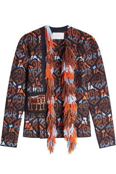 PETER PILOTTO - A bold choice in bright orange, sky blue and pitch black, this structured jacket from Peter Pilotto is crafted with wool and virgin wool for the most plush and indulgent finish. Voluminous tassel fringing adds impact while the asymmetric front keeps the look youthful and relevant | STYLEBOP