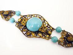 Art Deco Bracelet Gilt Filigree Turquoise Blue by zephyrvintage