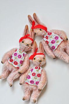 mohair handmade rabbits by Jennifer Murphy