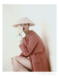 Vogue - March 1956 - Model Evelyn Tripp wearing pink ensemble Regular Photographic Print by Karen Radkai at AllPosters.com