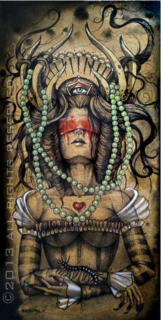 Dark goth girl with antlers art print. $20.00, via Etsy.