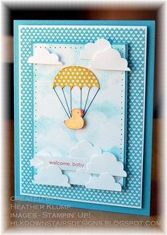 Just Ducky.....Stamps - Rain or Shine, Spring Sampler, Little Additions Paper - Baja Breeze, Whisper White, Patio Party DSP Ink - Summer Starfruit, Baja Breeze, Daffodil delight, Pumpkin pie Accessories - Paper Piercing tool, black marker, XL create a cupcake punch, sponge, Dimensional dots
