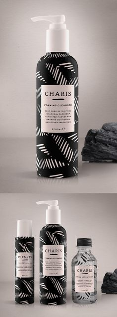 Beauty skincare brand and packaging design for 'Charis' created by design studio, Our Revolution (Bottle Packaging)