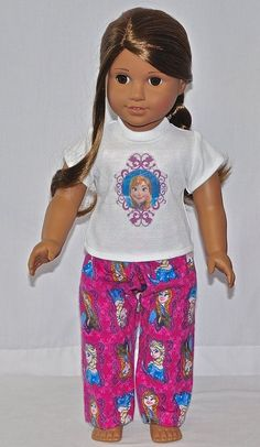 Handmade Clothes - For American Girl Doll - PJ Set FROZEN Anna Lot PJS00015 #DollClothesByChun #DollClothes