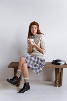 Cozy socks under black booties, sweet dress under warmer sweater + peter pan collar