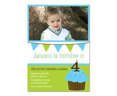 Sweet Blue Cupcake Birthday Invite | Kids Party | PaperConcierge.com | Personalized Stationery, Party Invitations and Personalized Gifts