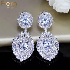 Pera Luxury Cubic Zirconia Stone Indian Women Big Long Dangling Drop Earrings Wedding Party Costume Jewelry For Brides E142 #Indian fashion